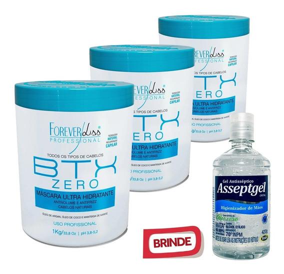 3 Botox Zero Forever Liss Hidratante Sem Formol 1kg E Brinde
