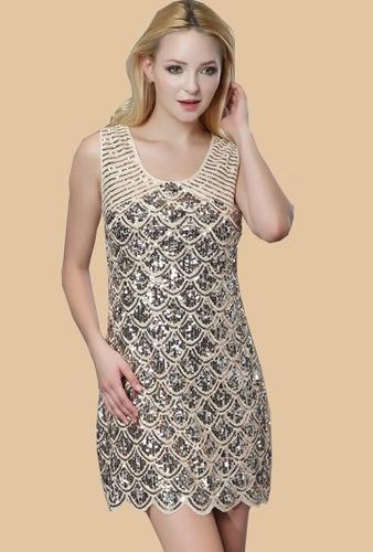 Vestido Elegante Con Lentejuelas Talla M Importado En Stock