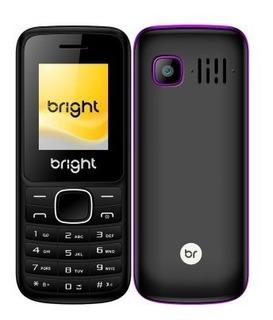 Celular Bright Barra Preto E Roxo Dual Chip Com Bluetooth