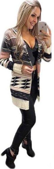 Casaco Com Capuz Kimono Cardigan Etnico Tricot Estampado