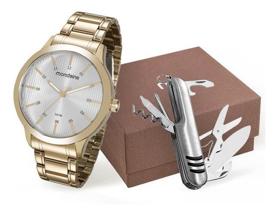 Relógio Mondaine Masculino + Canivete + Nf 99135gpmvde2k1