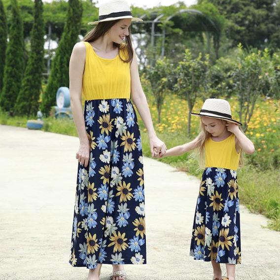 2pcs Vestido De Floral Madre E Hija Capellán-hijo Amarillo