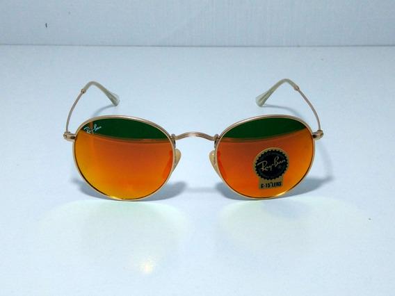 Óculos De Sol Redondo Round Retro Vintage Masculino Feminino Vermelho Espelhado Tamanho 50 M