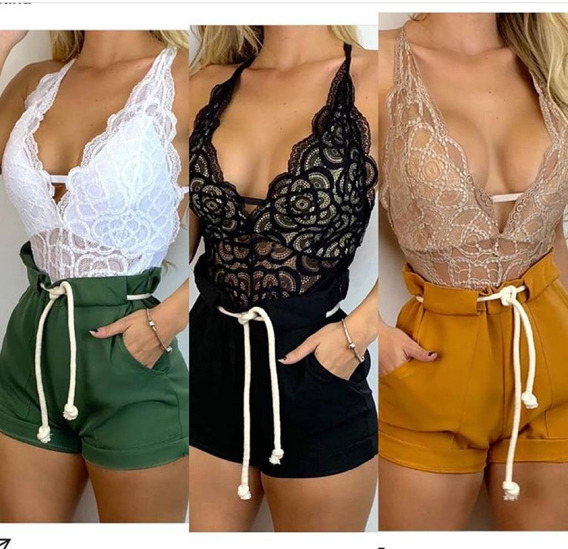 Conjunto Body Renda + Shorts Cordao Cintura Alta Bengaline