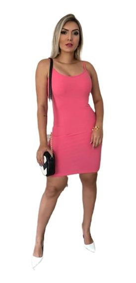 Vestido Feminino Canelado Sem Bojo Moda Verão 2020 Ref 379b