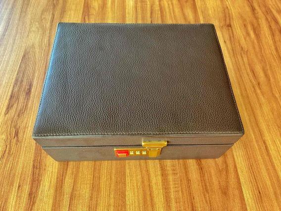 Caixa Em Couro Legítimo Para 8 Relógios C/ Segredo