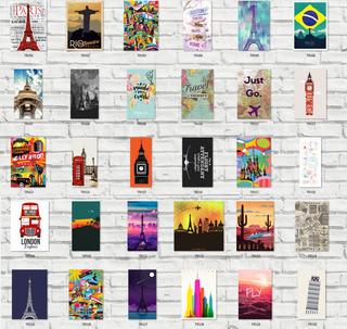 Kit 5 Placas Decorativas 20x29 + Brinde. Viagens - Lugares