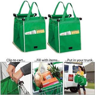 Bolsas Para Super Plegables Verdes Ecologica Para Carrito 1p