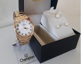 Kit Relógio Feminino Champion Dourado Cn29883j + Semi Jóias