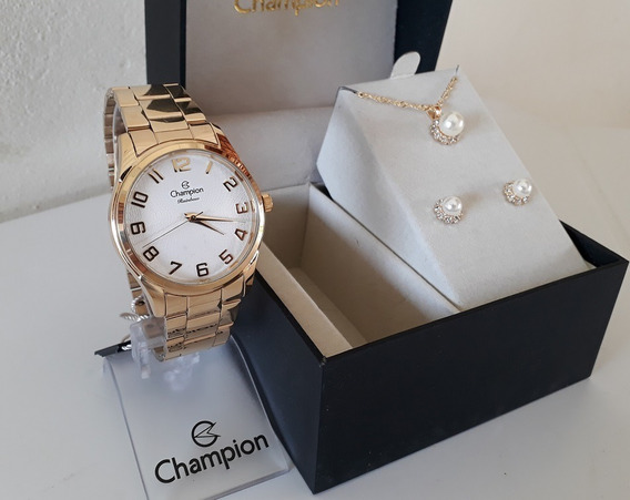 Kit Relógio Feminino Champion Dourado + Semi Jóias