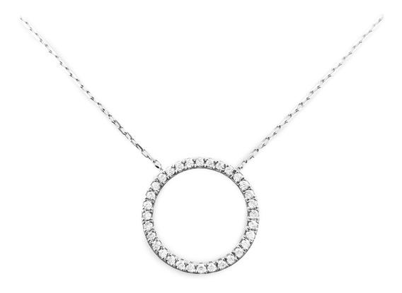 Colgante Moderno Oro Blanco 18k Con Diamantes Brillante