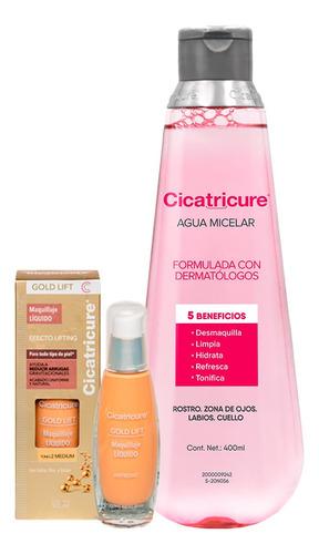 Imagen 1 de 10 de Cicatricure Maquillaje Gold Medio+ Agua Micelar Regular