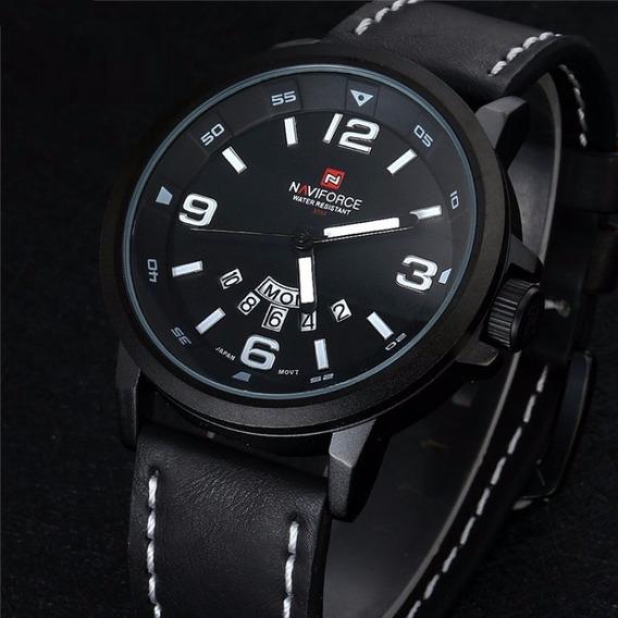 Reloj Casual Naviforce Original Correa De Cuero + Caja
