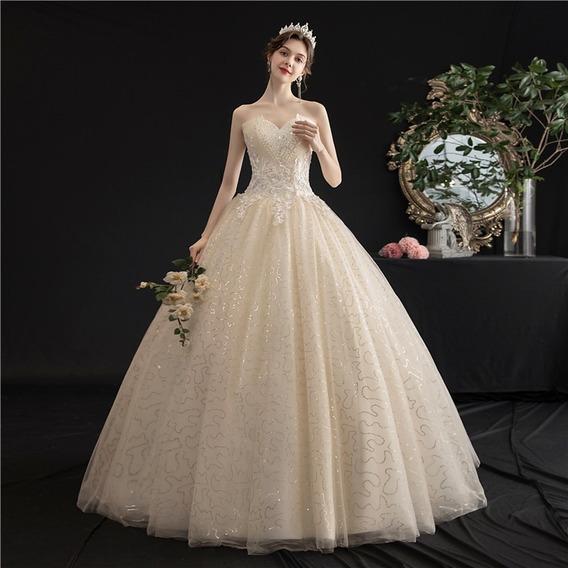 Nb83 Vestido De Noiva Marfim Ponto De Luz Barato Renda Saiote