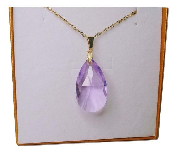 Colar Gota Cristal Swarovski Violet 2,8 Cm Folheada A Ouro