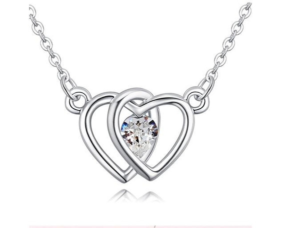 Collar Con Cristales, Amor De Cristal Ac18-324 Baño De Oro