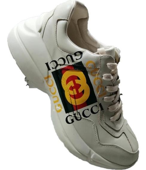 Tenis Gucci Rhyton Logo Beige Hombre Envio Gratis