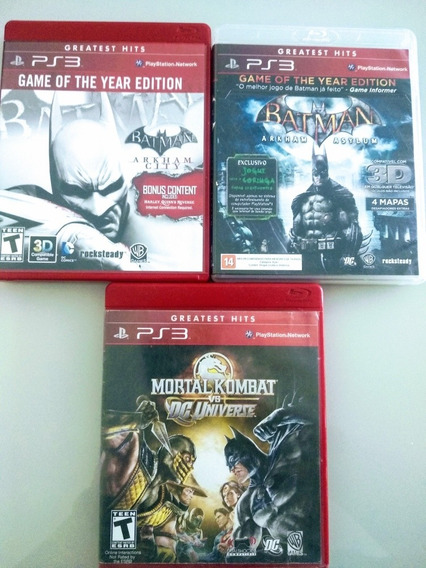 Pack 3 Jogos Ps3 - Mk Vs Dc, Batman Arkham City E Asylum