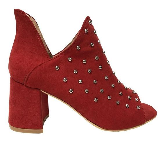 Zapato Lucerna Sandalia Microfibra Tacon Rojo