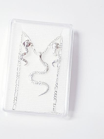 Collar De Serpiente 3 Cm De Plata Con Aretes Y Envio Gratis