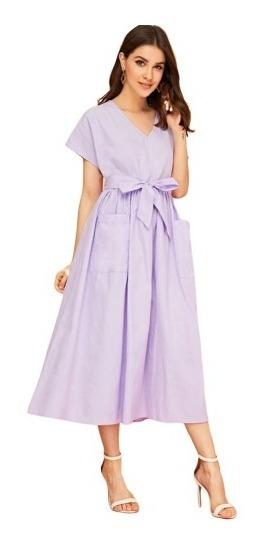 Vestido De Fiesta Elegante Con Cinta & Bolsillos Delanteros