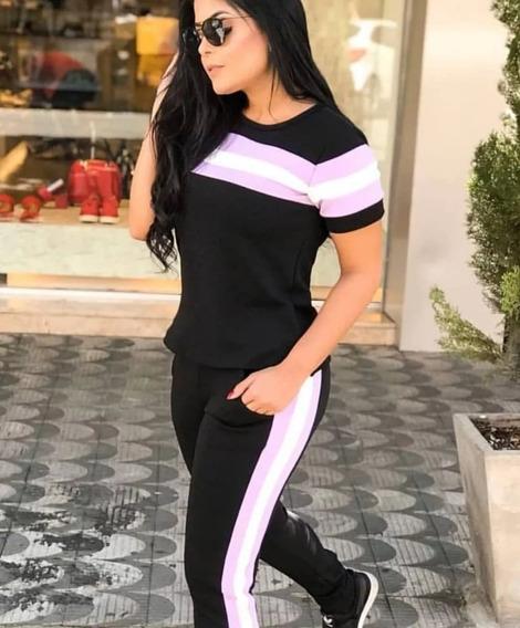 Conjunto Calça E Blusa Crepe Listrado Casual Lindo Promoção