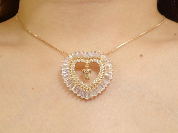 Corrente Dourado Coração Cristal/strass 1 Menina