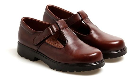 Zapatos De Cuero Escolares Guillermina Marrón Febo T34 Al 36