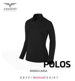 Playera Tipo Polo Cossetti Manga Larga Dry Fit Xl, 2xl, 3xl
