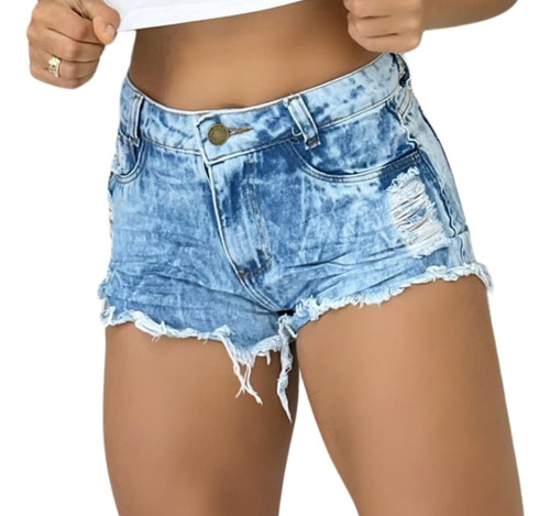 Imagem 1 de 4 de Shorts Jeans Hot Pants Feminino Cintura Alta Desfiado St006