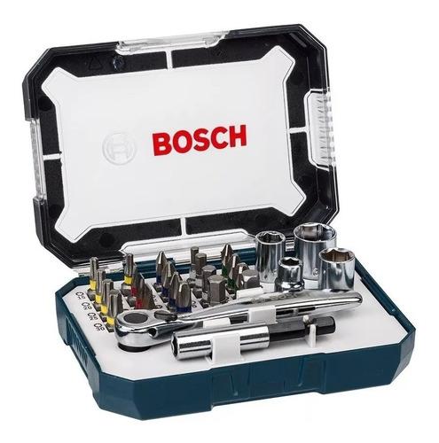 Imagen 1 de 6 de Set Kit Juego Bosch 2607017407 26 Pzs Puntas Pl Ph Hex Torx Pz + Soporte Universal Magnetico + Llave Crique + Estuche