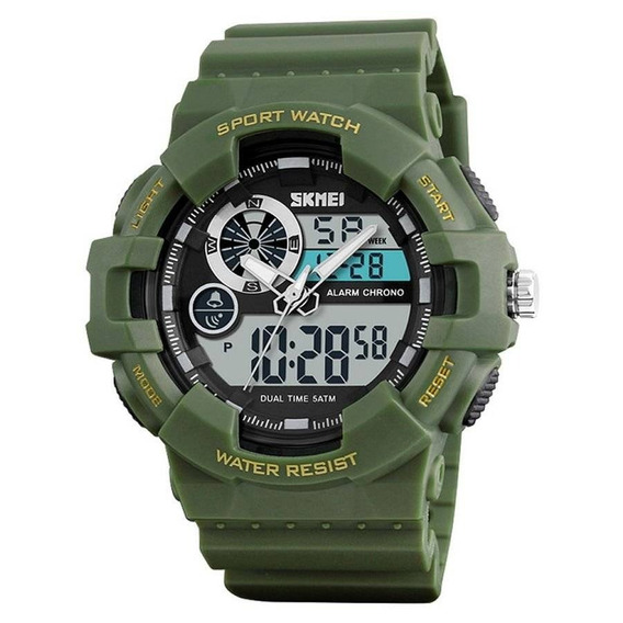 Relógio Masculino Skmei Anadigi 1312 Verde Pulso Hora