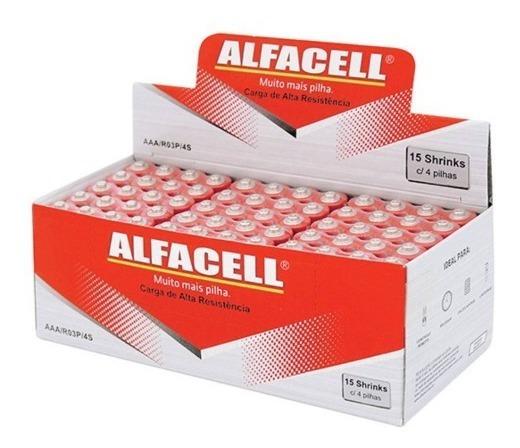 Pilha Palito Aaa R03p 1,5v Alfacell - Caixa 60 Unidades