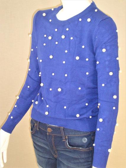 Suéter Cerrado Liso Cuello Redondo Con Perlas