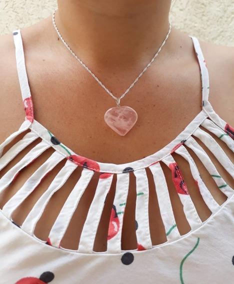 Colar Prata 925 Pingente Coração Quartzo Rosa