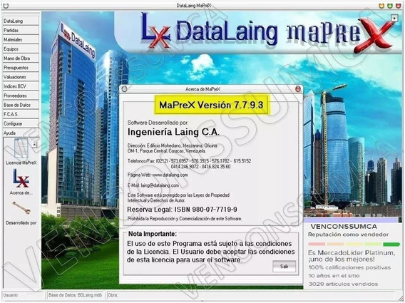 Maprex Version 7.7.9.3 Base De Datos Del Mes Actual