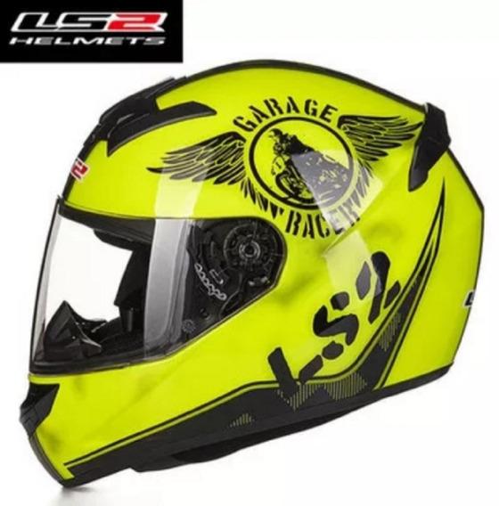 Capacete Ls2 Ff352 Amarelo Garage Racer Original Importado