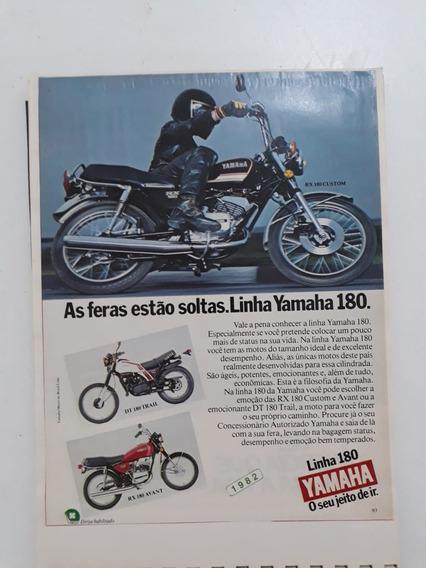 Propaganda Antiga Moto Yamaha Rx 180 Custom Publicidade Raro
