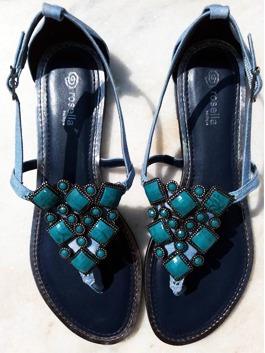 Sandália Rasteira Tecido Jeans