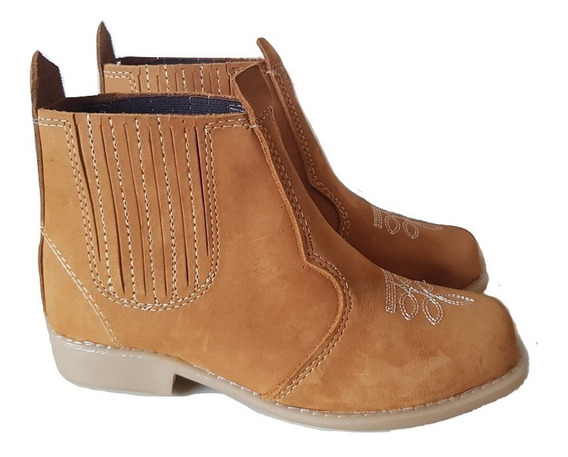Botina Infantil Bota Country Kids Texana Couro Unissex