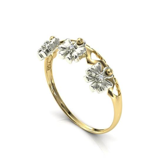 Anel 18k Vazado Coração 3 Pingente Laço Diamante - Cor Ouro