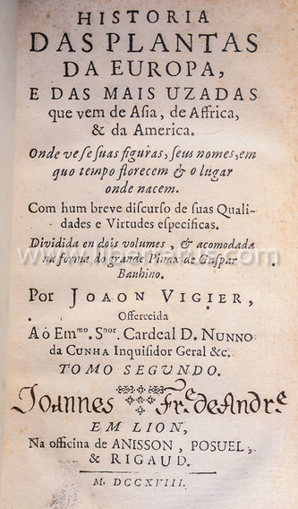Livro Antigo - Historia Das Plantas - 1718