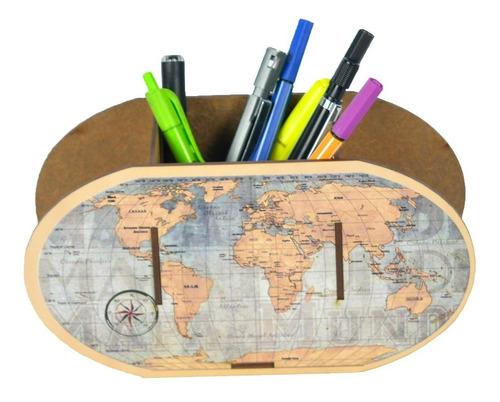Imagem 1 de 9 de Porta Canetas E Lápis Decorativo Mdf Mapa Mundi Escolar