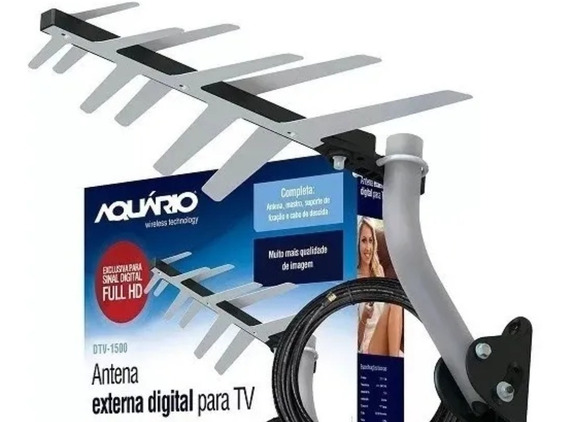 Kit Antena Externa Digital Aquário Dtv-1500 + Acessórios