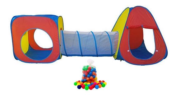 Barraca Infantil 3 X 1 Com Tunel +100 Bolinhas - Menor Preço