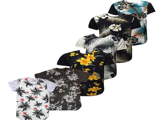 Kit 6 Camiseta Camisa Masculina Long Line Floral Estampada