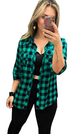 Camisa Camiseta Xadrez Feminina Viscose Blusa Inverno 2019