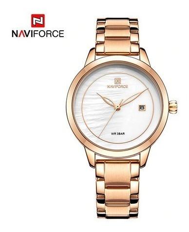 Relógio Feminino Naviforce 5008 Aço Rose Frete Grátis 12xs/j