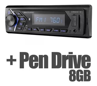 Rádio Multilaser Bluetooth Mp3 Sd Usb + Pen Drive 8gb