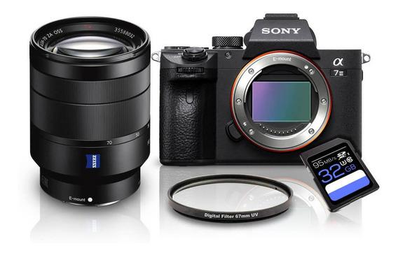 Kit Sony A7iii + Fe 24-70mm F/4 Za T* (sel2470z) + Cpl 77mm + Sdxc 32gb A7miii / A73 / A7m3 / A7 Mark3 / A7 Iii